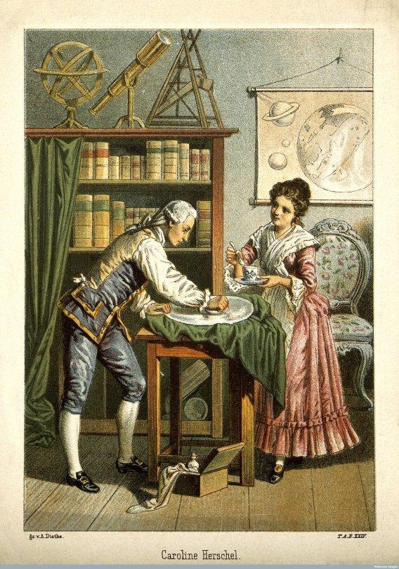 Caroline Herschel in una cartolina
