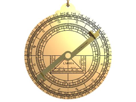Il retro di un astrolabio: alidada e scala calendariale