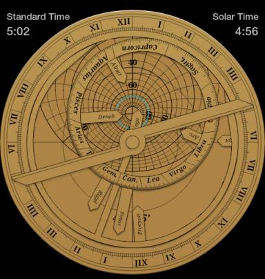 Calcolo del tramonto del 1 Novembre su un astrolabio piano