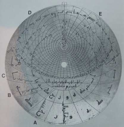 Astrolabio piano con le curve per la durata delle ore di preghiera