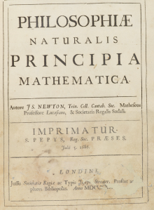 Frontespizio dei 'Principia' di Newton